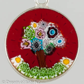 Murano Glass Pendant Millefiori 18mm - Tree of Life
