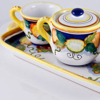 Hand-Painted Ceramics Alcantara Espresso Coffee Set for Two