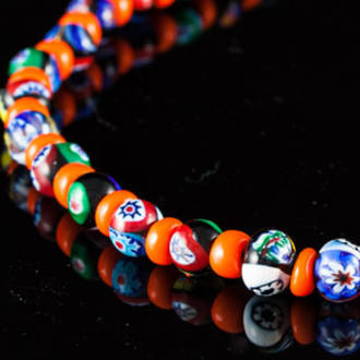 Murano Glass Millefiori Bead Necklace Nerida 8mm Tangerine