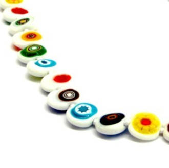 Millefiori Bead Necklace Nerida Flat Beads - White