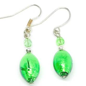 Murano Glass Bead Earrings - Acqua (green/silver)