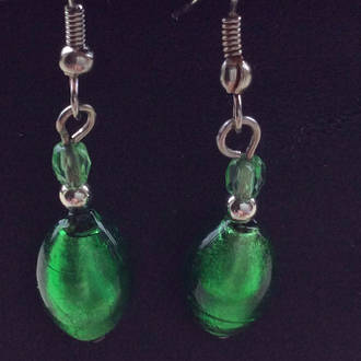 Murano Glass Bead Earrings - Lisa Silver/Green