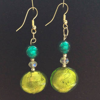 Murano Glass Bead Earrings - Serena  - Aqua/Green