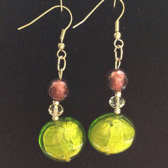 Murano Glass Serena Earrings - Purple/Green