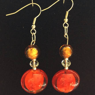 Murano Glass Bead Earrings - Serena  - Gold/Red