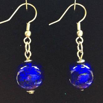 Murano Glass Marta Earrings - Blue/Silver foil