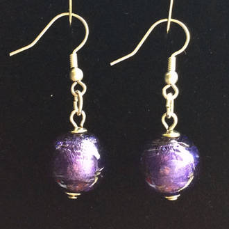Murano Glass Bead Earrings - Marta - Purple/Silver foil