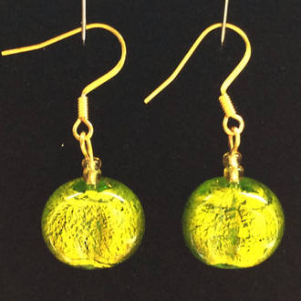 Murano Glass Bead Earrings - Elena - Green