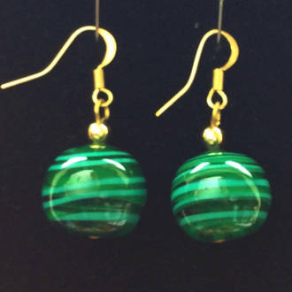 Murano Glass Bead Earrings - Dora - green and white
