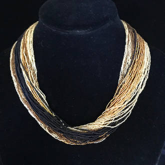 Murano Glass Bead Necklace 60 Strands - Fenice 1 (Gold/Black)
