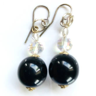 Murano Glass Bead Earrings - Roma Black-Silver