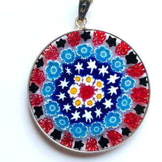 Murano Glass Pendant Millefiori 32mm 2