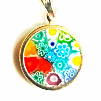 Murano Glass Pendant Millefiori 15mm Multi 2