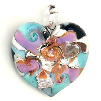 Murano Glass Heart Pendant 7