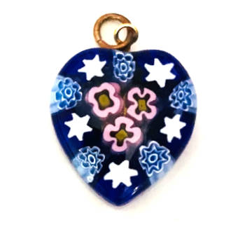 Murano Glass Pendant Millefiori Heart 20mm