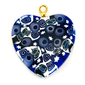 Murano Glass Pendant Millefiori Heart 25mm