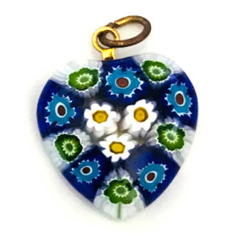 Murano Glass Pendant Millefiori Heart 20mm 8