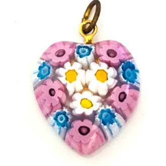 Murano Glass Pendant Millefiori Heart 20mm 5