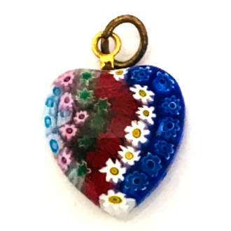 Murano Glass Pendant Millefiori Heart 15mm
