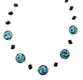 Murano Bead Necklace Colette Aqua-Black