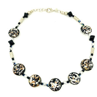 Murano Bead Necklace Colette Black-Silver