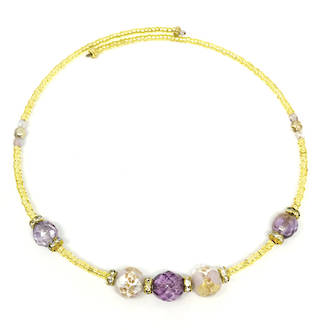 Murano Glass Bead choker - Lilac/Gold