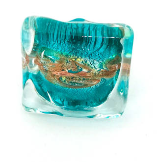 Murano Glass Millefiori Ring Martina Aqua