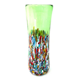 Murano Glass Vase with Millefiori Beads 190mm - Green