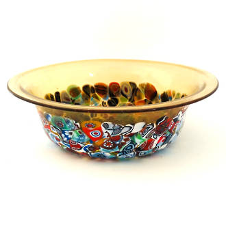 Murano Glass Bowl with Millefiori Beads 150mm diameter - gold