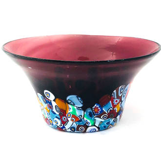 Murano Glass Bowl with Millefiori Beads (B) 130mm diameter - burgundy