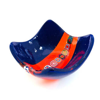 Murano Glass Dish with Millefiori Beads Dark Blue
