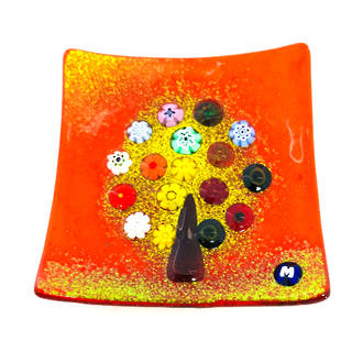 Murano glass dish - Millefiori Bead Tree (red)