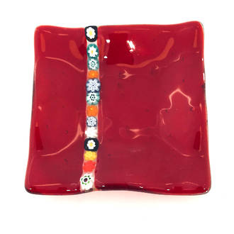 Murano glass dish - with millefiore stripe
