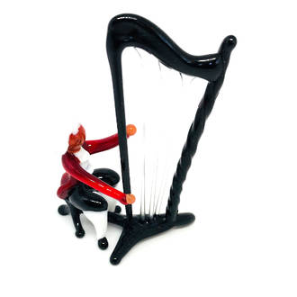 Murano Glass Musician Ornament Harp Player 2 Piece