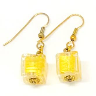 Murano Glass Bead Earrings - Gold Cube