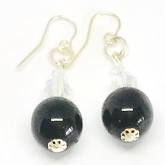 Murano Glass Bead Earrings - Marta (Black)