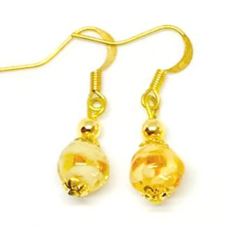 Murano Glass Bead Earrings - Corintia - Amber/Gold (C)