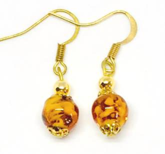 Murano Glass Bead Earrings - Corintia - Amber/White
