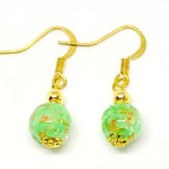 Murano Glass Bead Earrings - Corintia - Green/Gold C