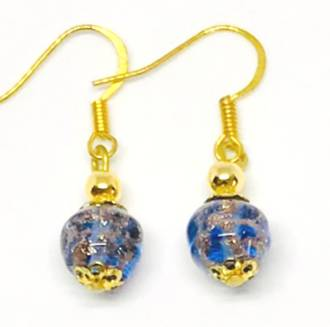 Murano Glass Corintia Earrings - Blue/Gold Foil