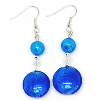 Murano Glass Bead Earrings - Serena - Blue/Aqua