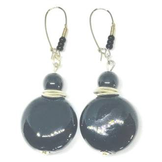 Murano Glass Bead Earrings - Black