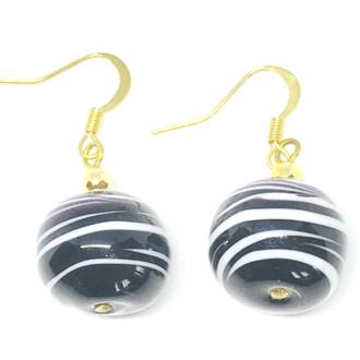 Murano Glass Bead Earrings - Dora (black/white)