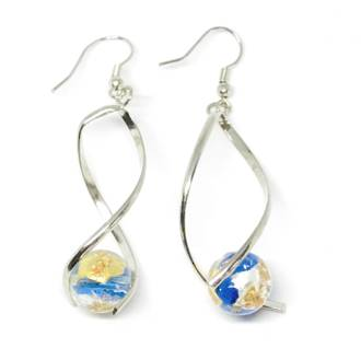Murano Glass Bead Earrings - Giorgia (Blue/Rose Gold/Silver)