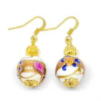 Murano Glass Bead Earrings - Disegno (White)