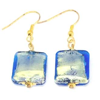 Murano Glass Bead Earrings - Lucia (square - blue/gold foil)