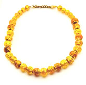 Murano Bead Necklace Amber-Gold