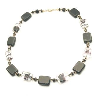 Murano Glass Bead Necklace - Silver/Black