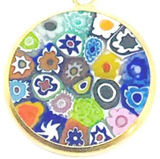 Murano Glass Pendant Millefiori 18mm Multi
