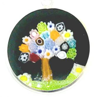 Murano Glass Pendant 23mm Millefiori Tree of Life (Black)